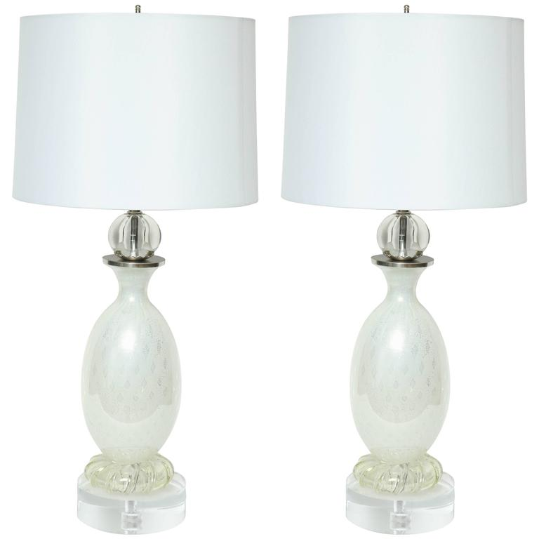 Seguso Pearl White Murano Glass Lamps 1