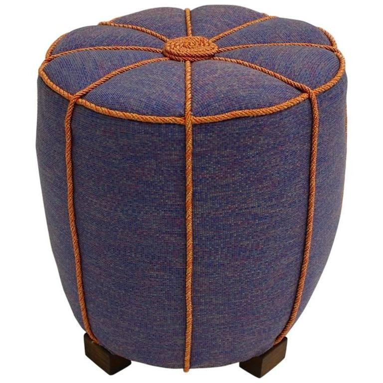 blue art deco pouf austria 1930s for sale at 1stdibs. Black Bedroom Furniture Sets. Home Design Ideas