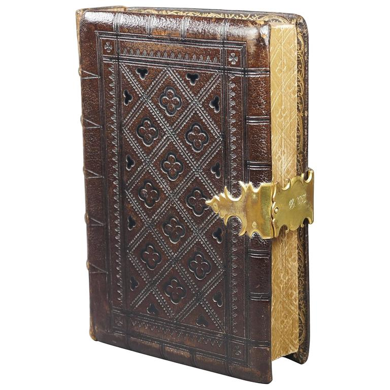 Old Book Covers For Sale : Antique th century tooled leather bible book gilt clasp