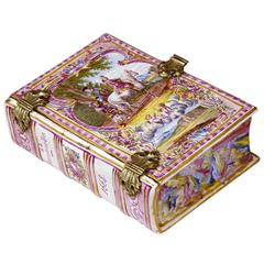 Early 19th Century French Hand-Painted Porcelain Jewelry Box Shaped as a Book