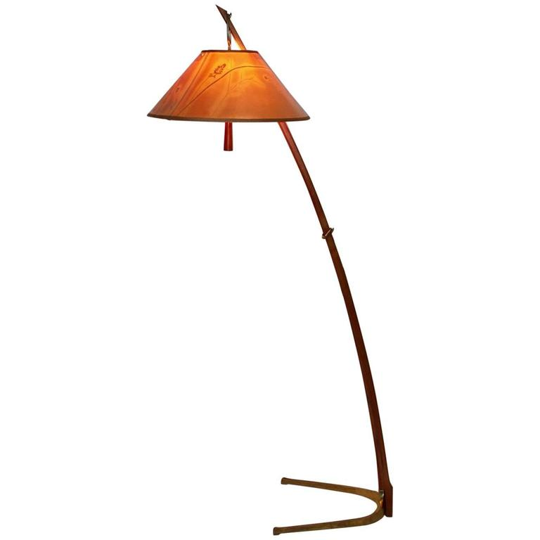 Walnut Thorn Stick Floor Lamp by J.T. Kalmar Vienna, 1952