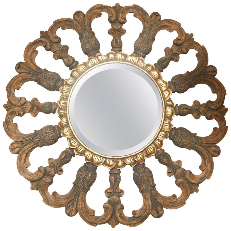 Vintage Round Mirror By Harrison Gil For