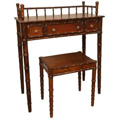 Italian Faux Bamboo Vanity Table and Bench