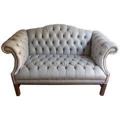 Chippendale Tufted Leather Settee