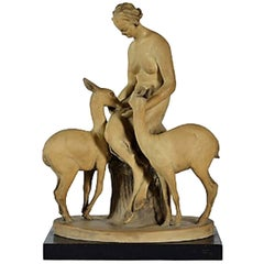 Stoneware and Wood Statue, Faunessa by Guido Cacciapuoti, circa 1930