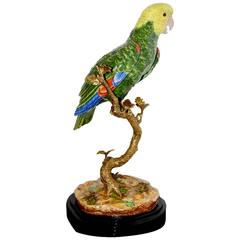 Parrot Sculpture in Solid Porcelain Hand-Painted Finish and Solid Bronze