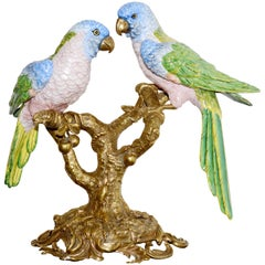 Parrot Couple Sculpture in Solid Porcelain Hand-Painted Finish and Solid Bronze