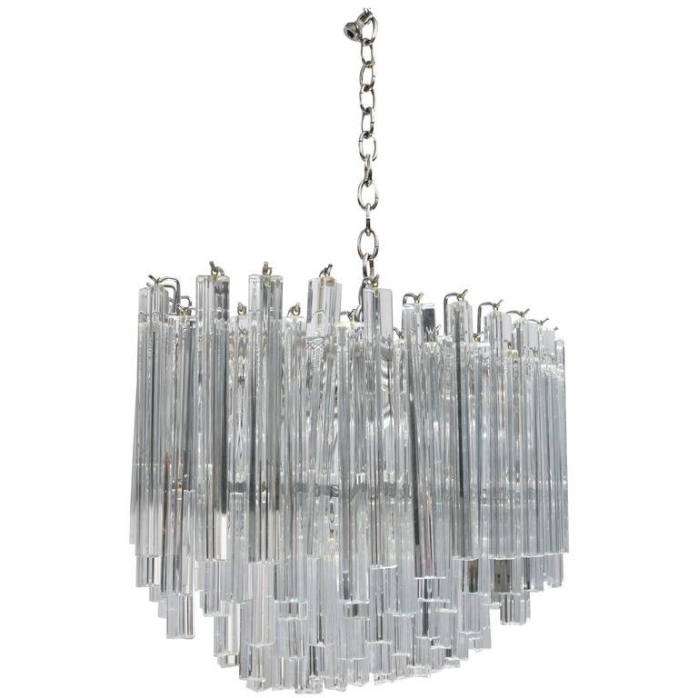 Oval Form Venini Murano Glass Chandelier with Triedri Form Prisms