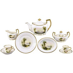 Royal Worcester 9 Pc. Handpainted Artist Signed, Rushton, Scenic Breakfast Set