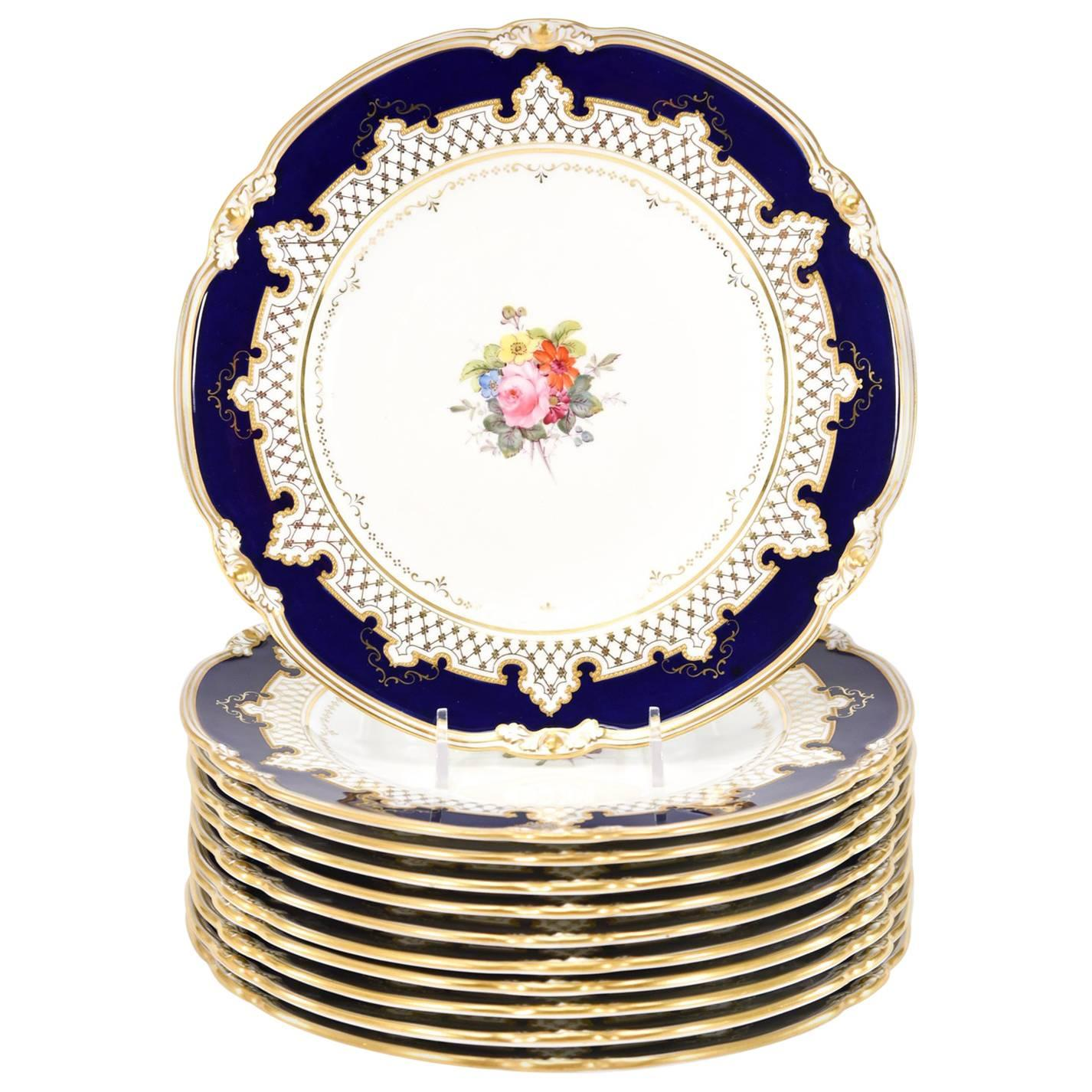 Royal Crown Derby Dessert Service with Cobalt Blue, Gold & Hand-Painted Flowers
