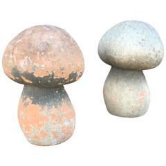 Pair of Terra-Cotta Mushrooms