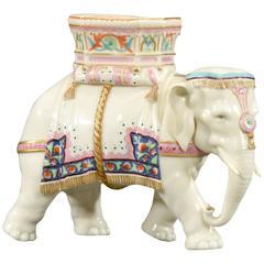 Worcester Porcelain Figural Elephant Vase Hand-Painted Enamel Decoration