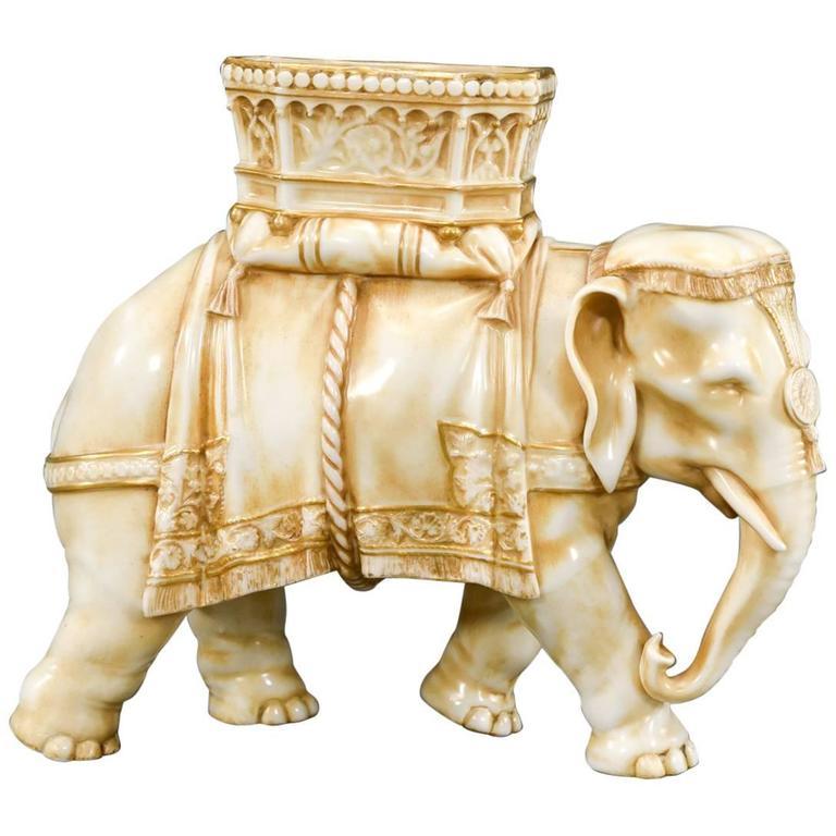 Antique Ivory Look Decorative Elephant Statue 0