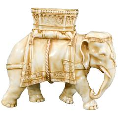19th Century Royal Worcester Elephant Vase in Antique Ivory Jamed Hadley