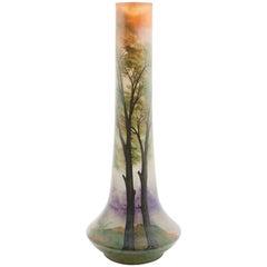 Leune Daum Freres Glass Vase with Enamel Decoration of a Landscape