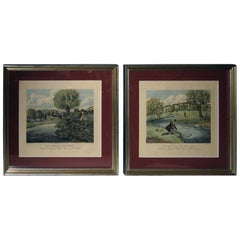 19th century English Fishing Framed Aquatint Prints by R G Reeves