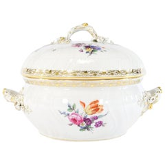 KPM White & Gold Round Tureen with Hand Painted Floral Decoration Molded Relief