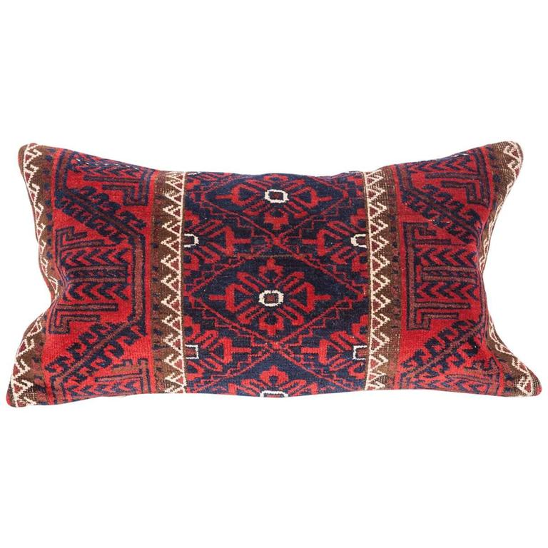 Antique Pillow Made Out of a 19th Century Baluch Rug Fragment For Sale