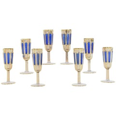 Set of Eight Moser Crystal Panel Cut Cobalt Blue Enamel & Gold Champagne Flutes