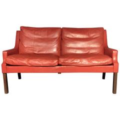 George Thams Red Leather and Rosewood Sofa, Denmark, 1960s