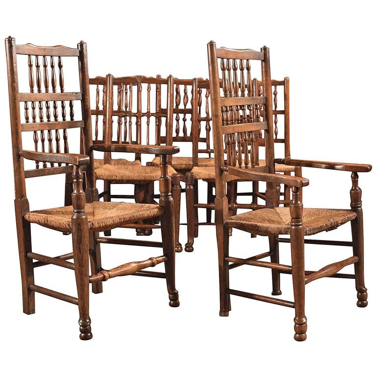 Harlequin Set of Seven Antique Spindle Back Dining Chairs, circa ...