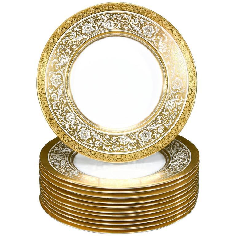 Set of 12 Minton Gold Rimmed Porcelain Ball Dinner Plates