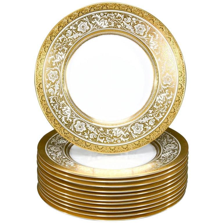 Set of 12 Minton Gold Rimmed Porcelain Ball Dinner Plates For Sale