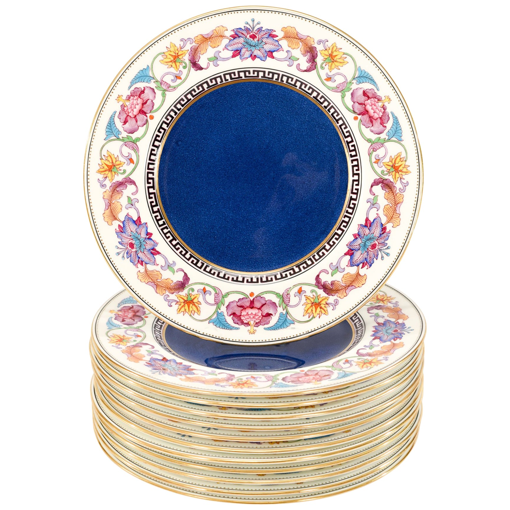 Set of 12 Wedgwood Dinner Plates with Cobalt Centers & Aesthetic Movement Enamel
