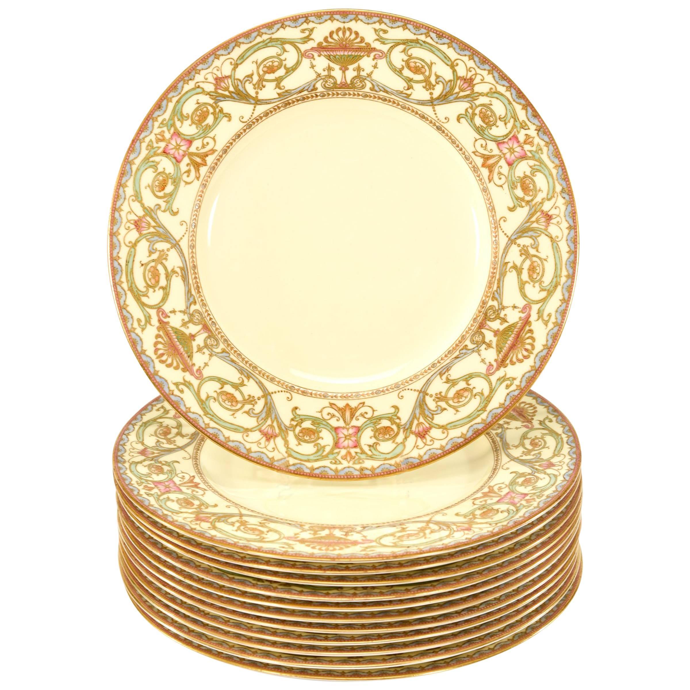 Set of 12 Royal Worcester Cream & Multicolored Enamel & Gold Dinner Plates