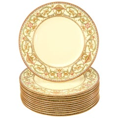 Set of 12 Royal Worcester Cream & Multicolored Enamel & Gold Dinner Plates