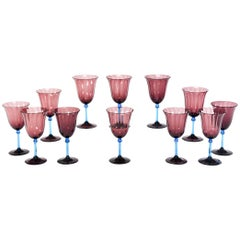 Set of 12 Steuben Handblown Amethyst Optic Rib Goblets with Celeste Blue Stem