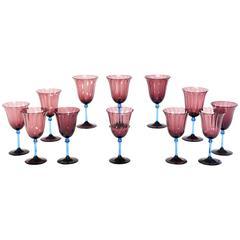 Set of 12 Steuben Handblown Amethyst Optic Rib Goblets with Celeste Blue Stem