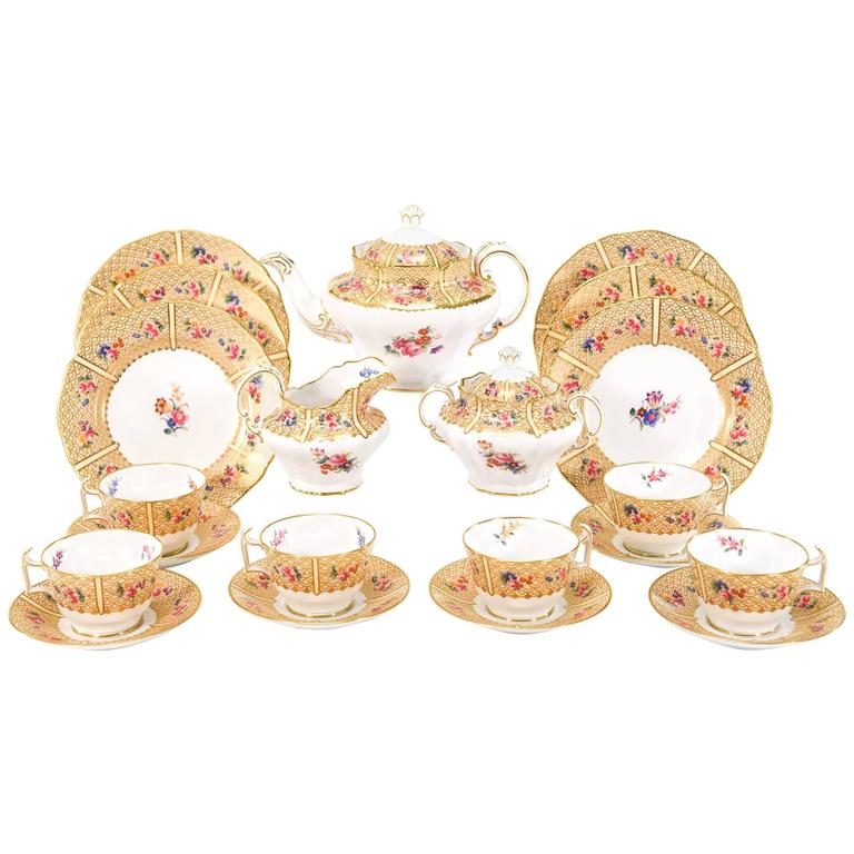 Copeland Spode for Tiffany Dessert & Tea Set for 12 Floral Japonesque Service