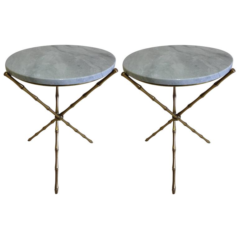 Pair French Mid-Century Brass Faux Bamboo & Marble Side Tables by Maison Baguès