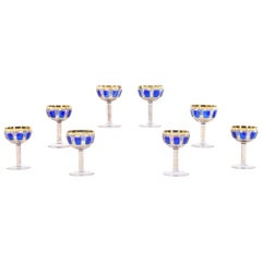 Set of Eight Moser Cobalt Blue and Gold Panel Cut Champagne Coupes