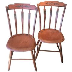Pair of Salmon-Painted Step-Down Windsor Side Chairs