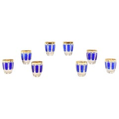 Set of Eight Moser Cobalt Blue and Gold Crystal Rounded High Ball Glasses