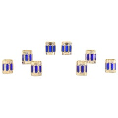 Set of Eight Moser Cobalt Blue and Gold Crystal High Ball Glasses Panel Cut