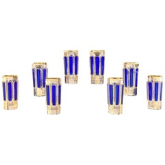Set of Eight Moser Cobalt Blue and Gold Crystal Tumblers Panel Cut