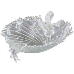 Salviati Handblown Large Venetian Murano Iridescent Grape Leaf Centrepiece