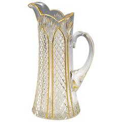 Handblown 19th Century Cut Crystal Pitcher with Gold Enamel Decoration Baccarat