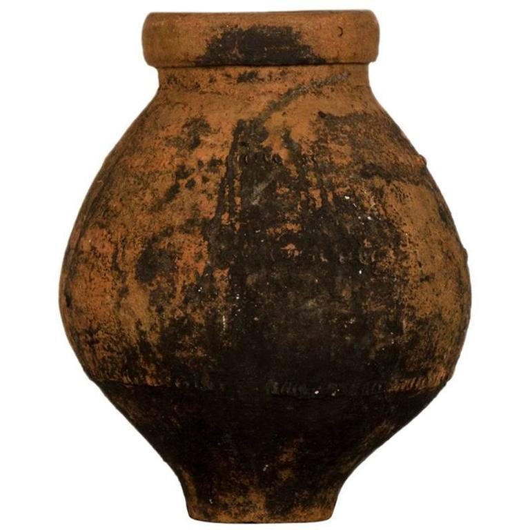 Antique Italian Handmade Terra Cotta Urn, circa 1885