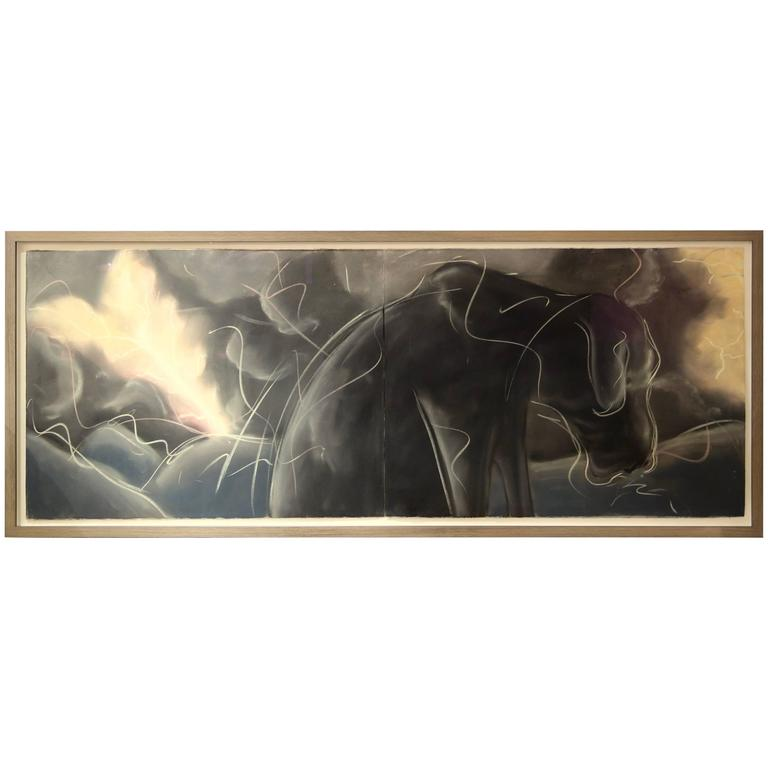 """Luther During the Storm,"" 1981 Framed Grisaille Pastel Diptych by Mark Milloff 1"