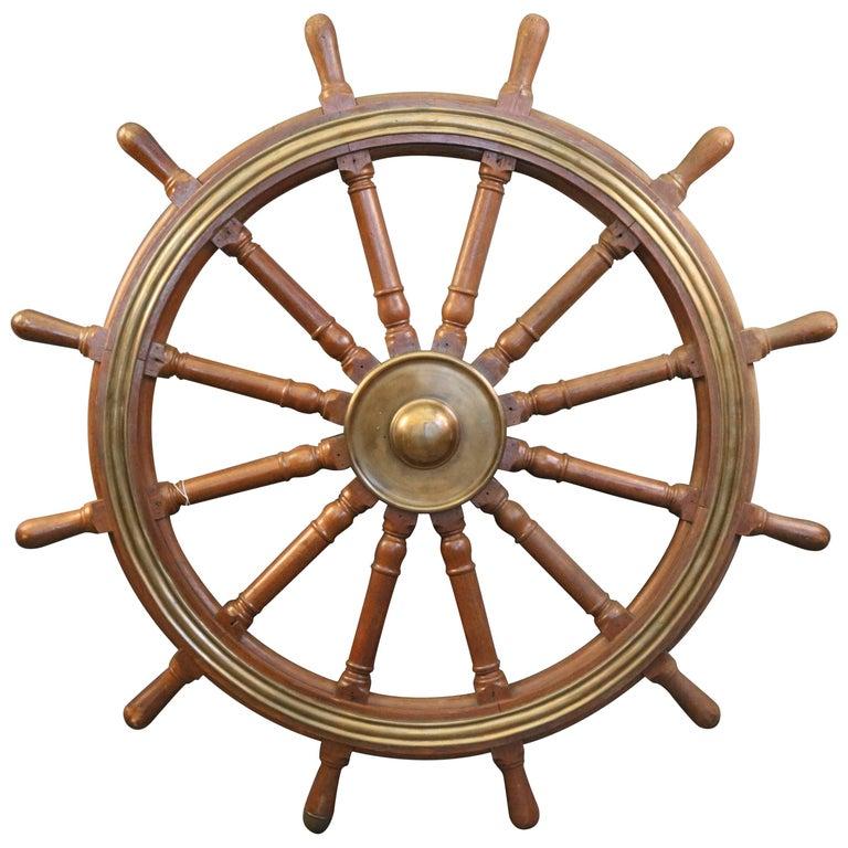 12-Spoke Varnished Ship's Wheel For Sale