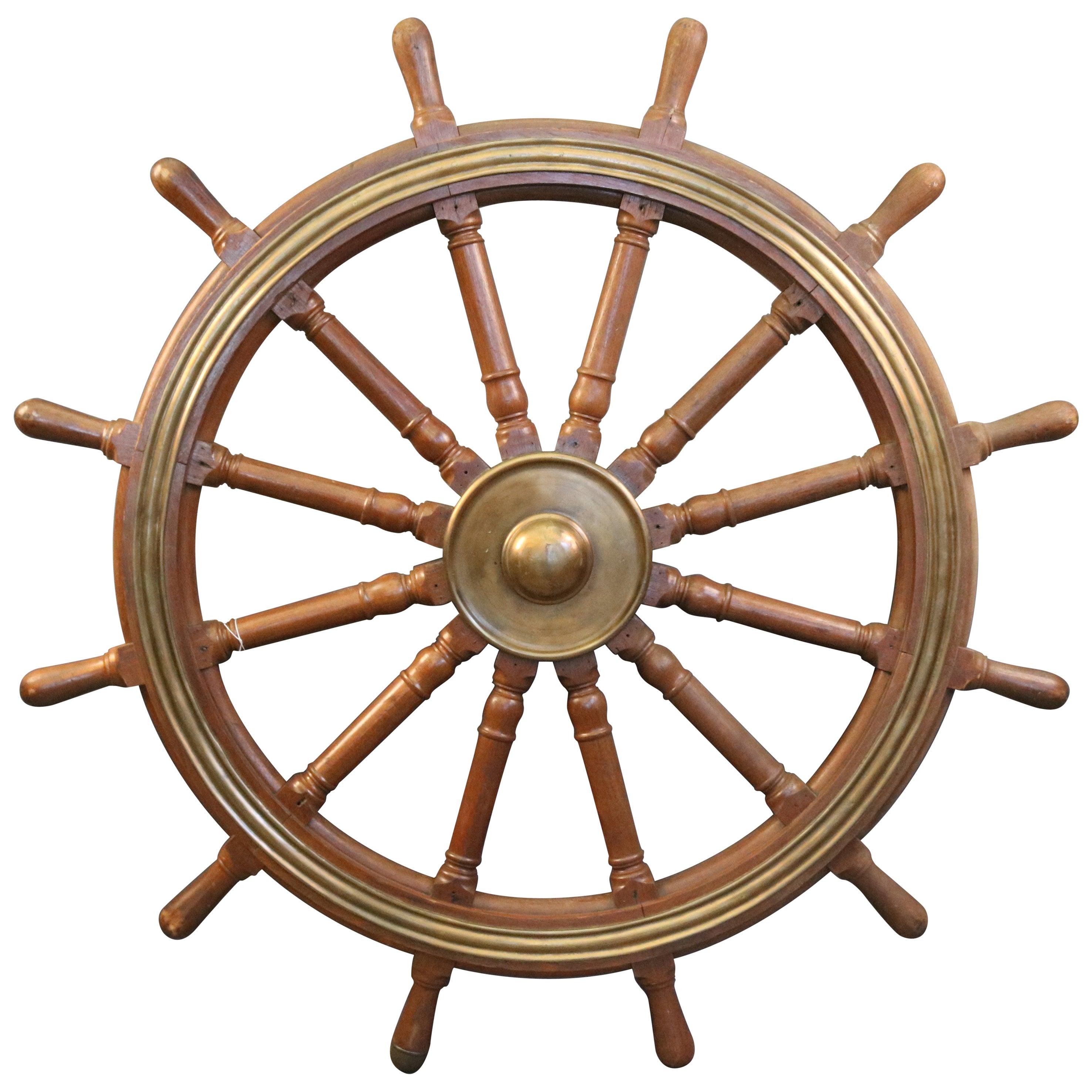 12-Spoke Varnished Ship's Wheel