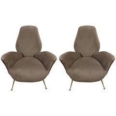 Pair of Sculptural ISA Bergamo, Italian Mid-Century Taupe Lounge Chairs