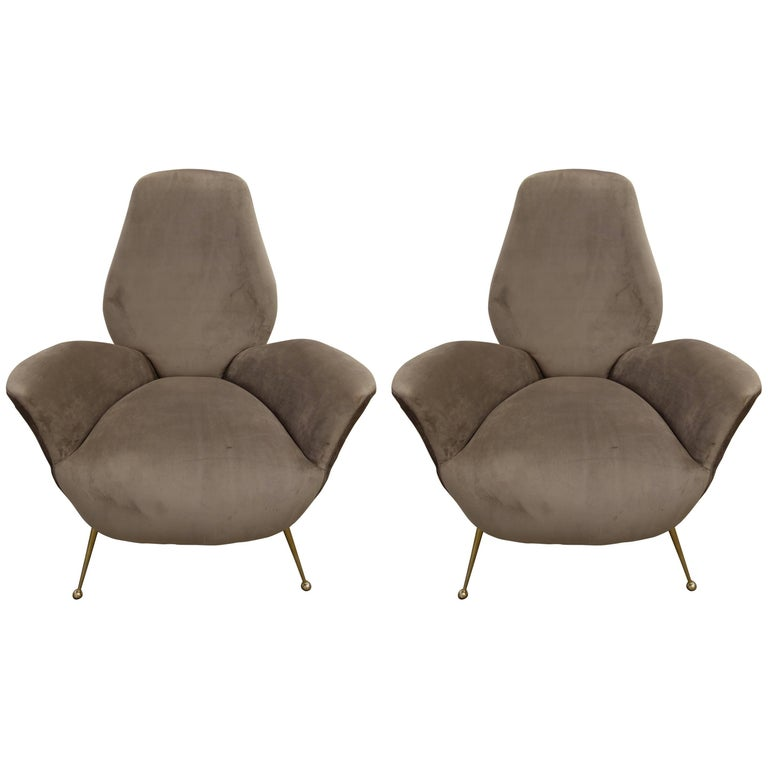 Pair of Sculptural ISA Bergamo, Italian Mid-Century Taupe Lounge Chairs For Sale