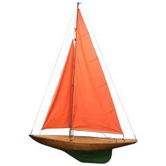 """Big Sailing Ship Model with Original Plans, 1930, Handmade """"Joyce"""""""