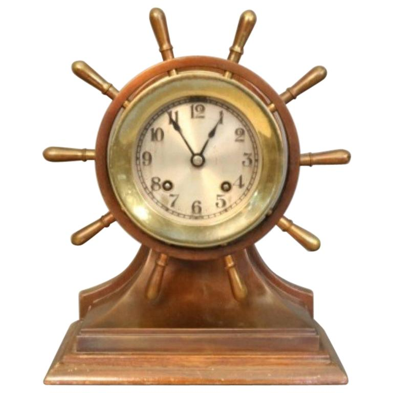 Ship's Bell Clock with Wheel For Sale