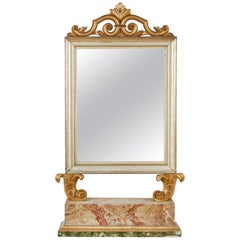 18th Century, Italian Baroque Mirror with Faux Marble Base